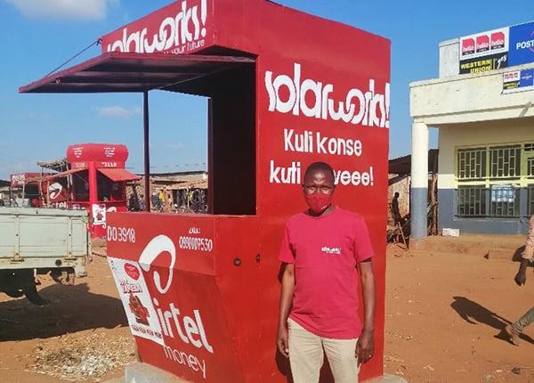 Solarworks! kiosk at refugee camp